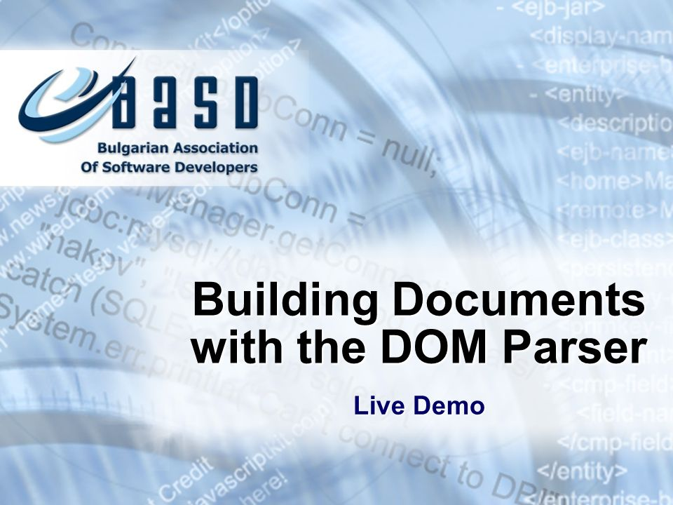 Building Documents with the DOM Parser Live Demo