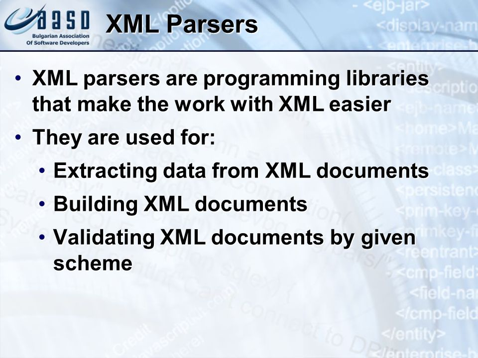 Parsing XML Documents with XPath To evaluate an XPath expression in Java, create an XPath objectTo evaluate an XPath expression in Java, create an XPath object Then call the evaluate methodThen call the evaluate method expression is an XPath expressionexpression is an XPath expression doc is the Document object that represents the XML documentdoc is the Document object that represents the XML document XPathFactory xpfactory = XPathFactory.newInstance(); XPath xpath = xpfactory.newXPath(); String result = xpath.evaluate(expression, doc)