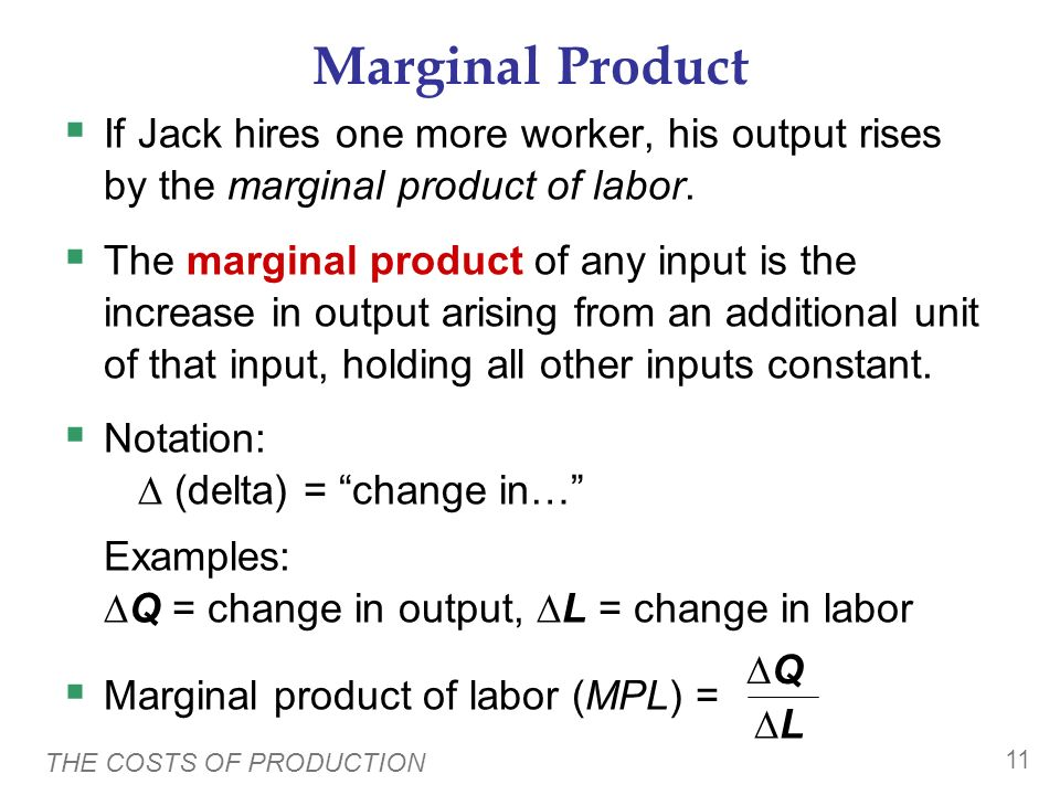 THE COSTS OF PRODUCTION 10 0 500 1,000 1,500 2,000 2,500 3,000 012345 No. of workers Quantity of output Example 1: Farmer Jacks Production Function 30