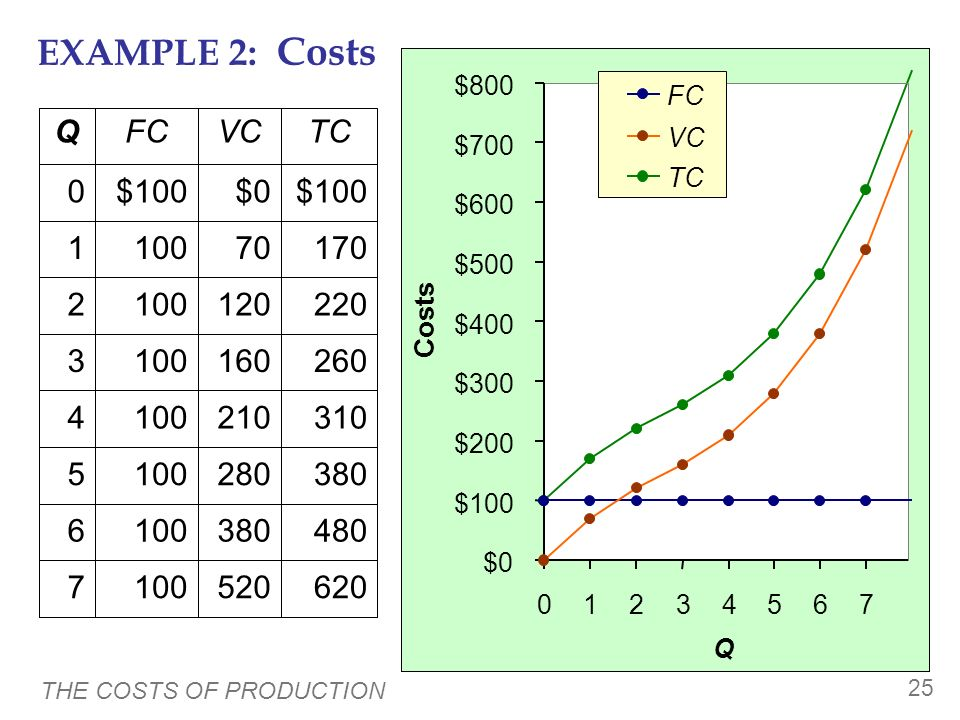 THE COSTS OF PRODUCTION 24 EXAMPLE 2 Our second example is more general, applies to any type of firm producing any good with any types of inputs.