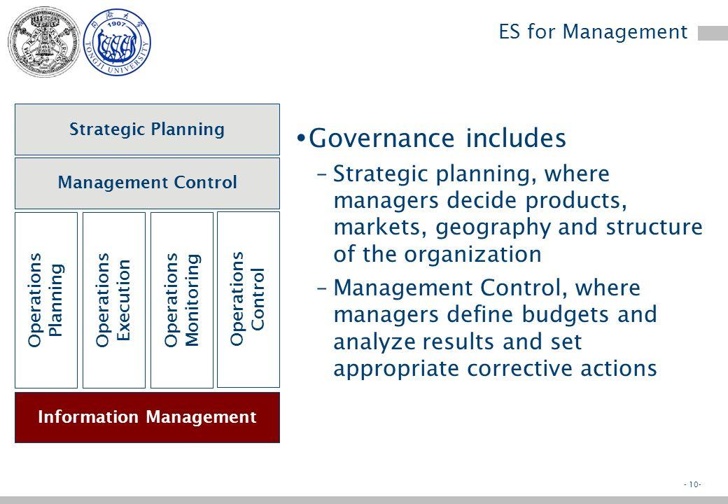 - 9- ES targets Strategic Planning Management Control Operations Planning Operations Execution Operations Monitoring Operations Control Information Ma