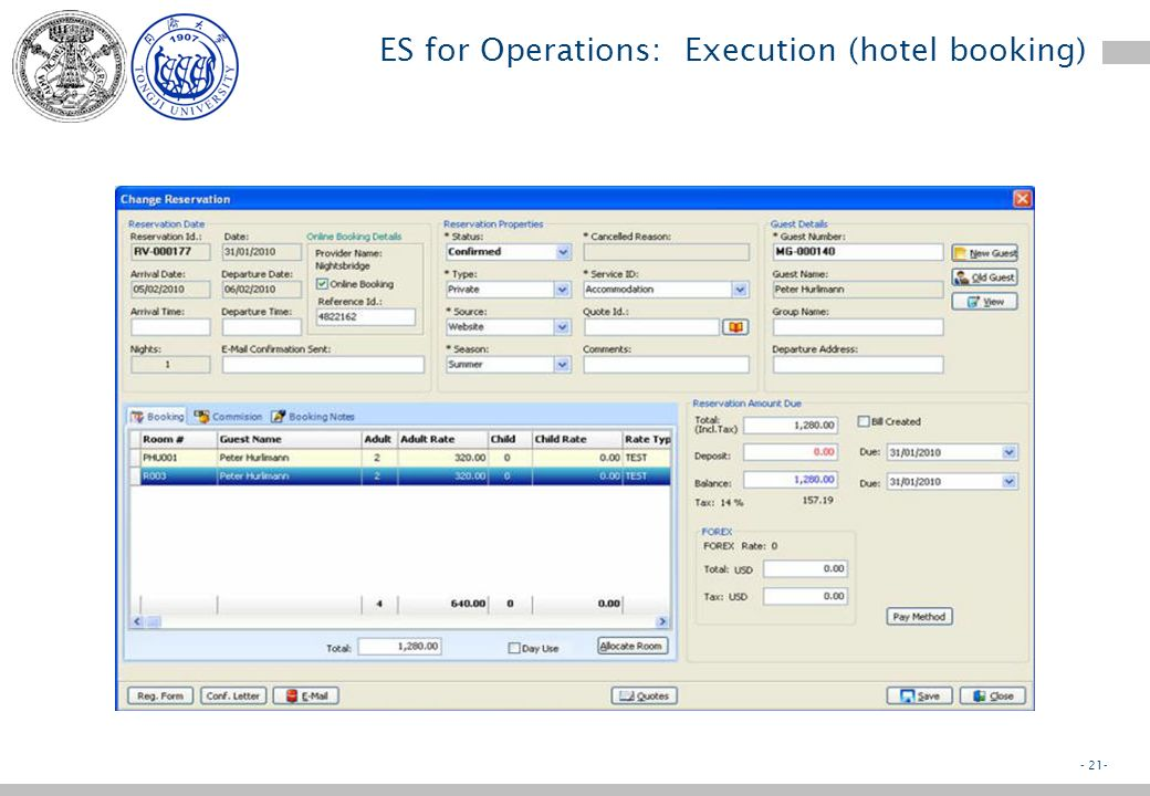 - 20- ES for Operations: Execution (hotel booking) Execution implies –To collect the data of the transaction to be executed –To update database accord