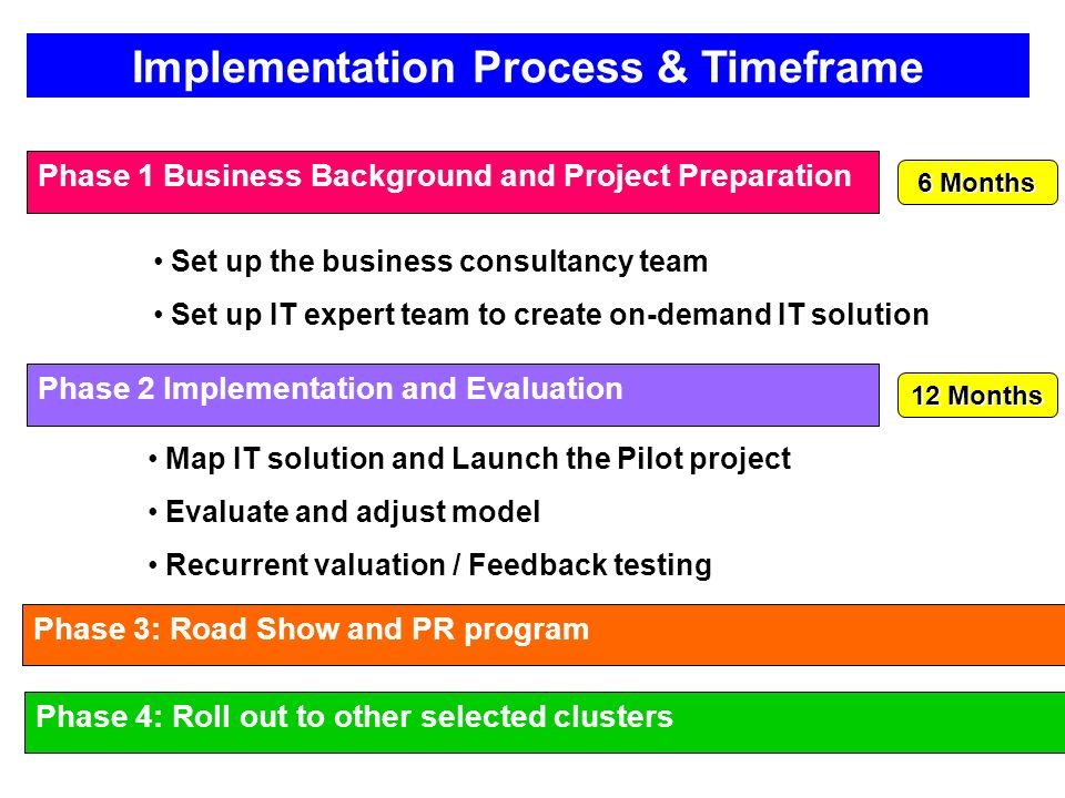 Phase 1 Business Background and Project Preparation Set up the business consultancy team Set up IT expert team to create on-demand IT solution Phase 2 Implementation and Evaluation Map IT solution and Launch the Pilot project Evaluate and adjust model Recurrent valuation / Feedback testing Phase 3: Road Show and PR program Phase 4: Roll out to other selected clusters 6 Months 12 Months Implementation Process & Timeframe