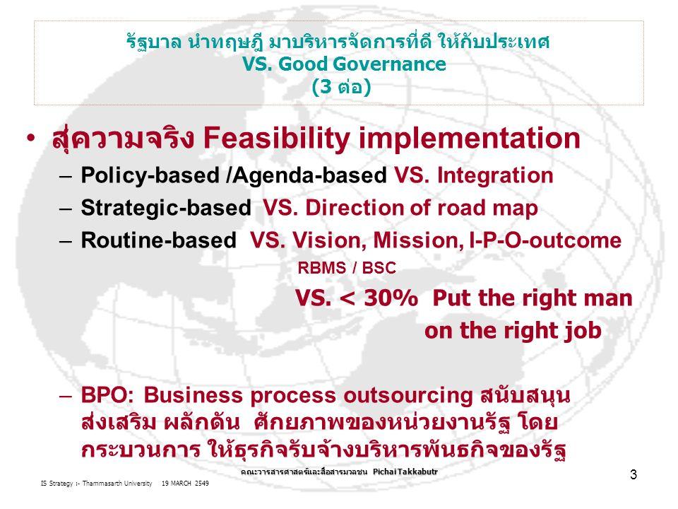 IS Strategy :- Thammasarth University 19 MARCH 2549 Pichai Takkabutr 3 VS.