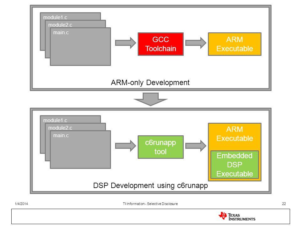 module1.c module2.c main.c GCC Toolchain ARM Executable ARM-only Development module1.c module2.c main.c c6runapp tool ARM Executable DSP Development u