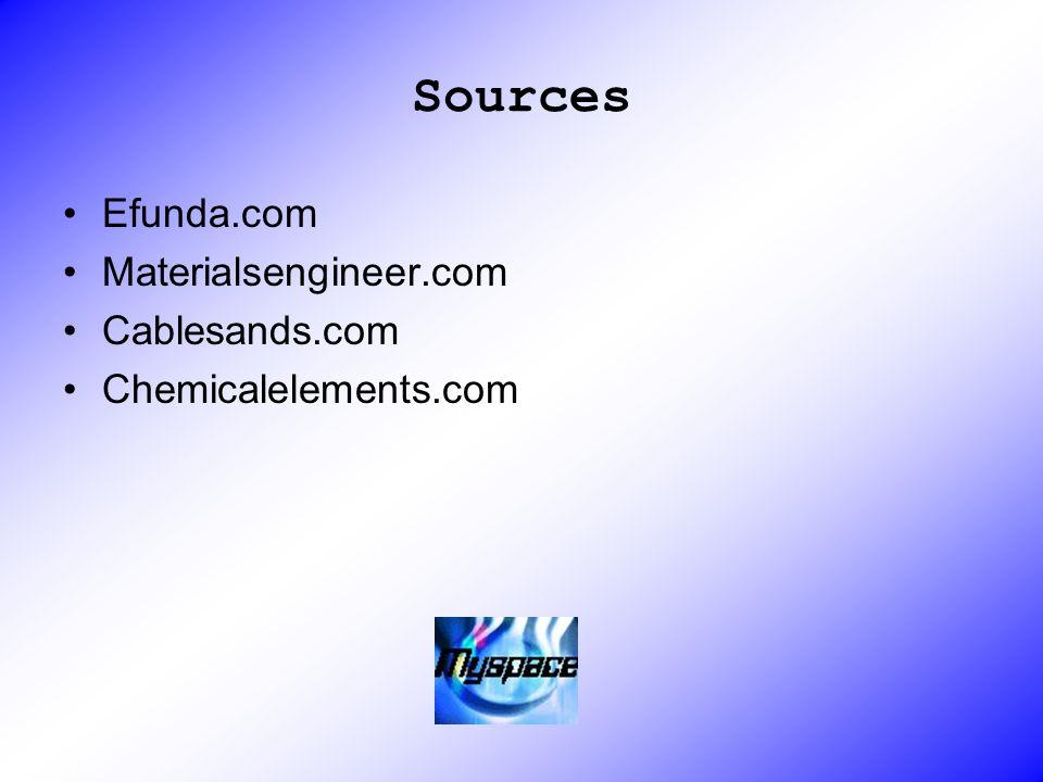 Sources Efunda.com Materialsengineer.com Cablesands.com Chemicalelements.com