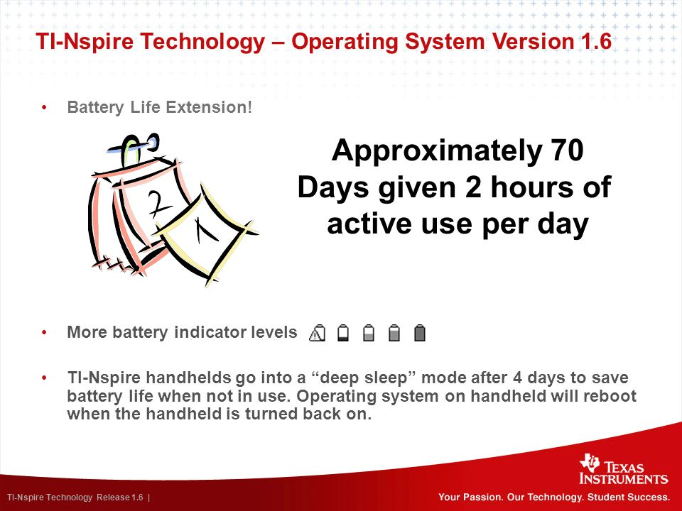 TI-Nspire Technology Release 1.6 | TI-Nspire Technology – Operating System Version 1.6 Battery Life Extension! More battery indicator levels TI-Nspire