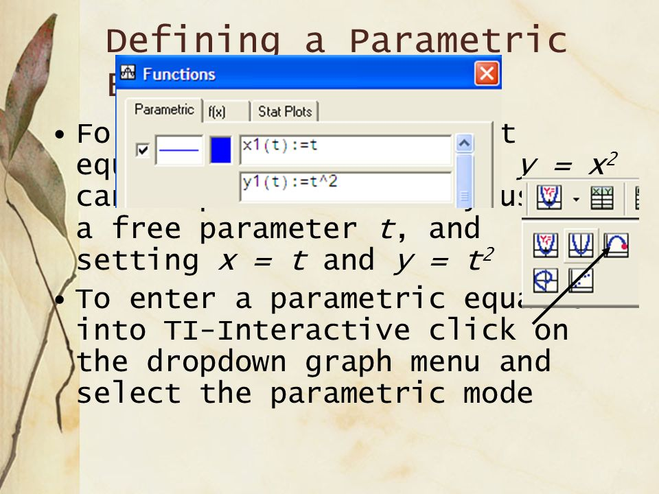 Parametric Equations Parametric Equations in the plane are a pair of functions of x = f(t) and y = g(t) which describe the x and y coordinates of the