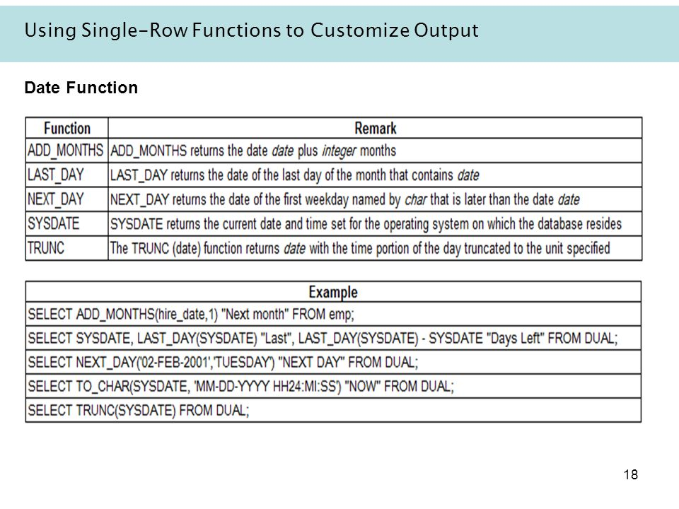 18 Using Single-Row Functions to Customize Output Date Function