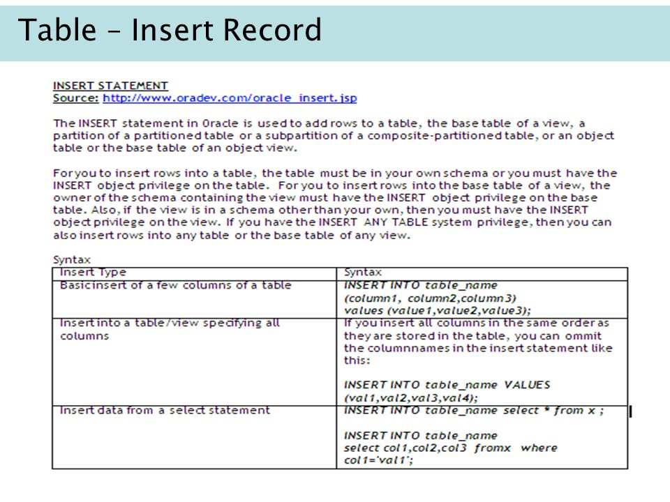 4 Table – Insert Record