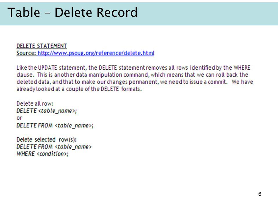 6 Table – Delete Record