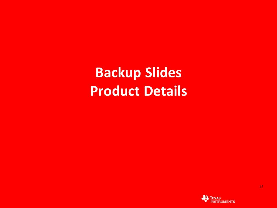 21 Backup Slides Product Details