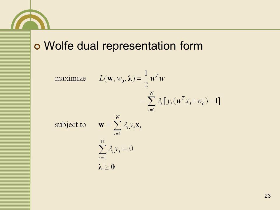 23 Wolfe dual representation form