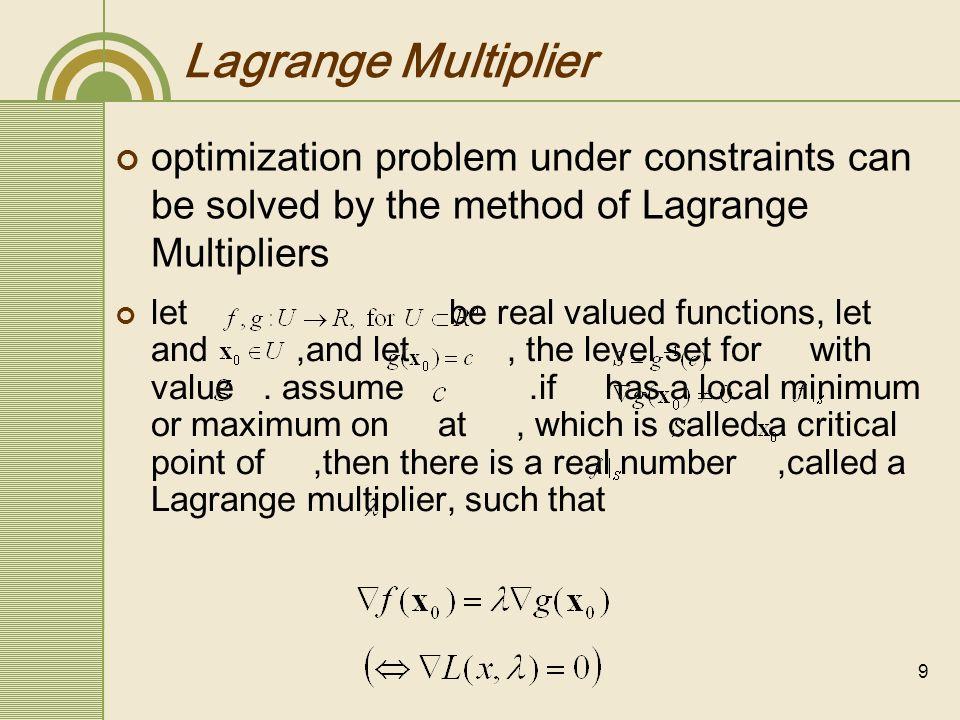 10 The Method of Lagrange Multiplier