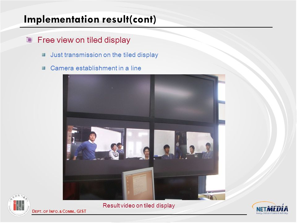 D EPT. OF I NFO. & C OMM., GIST Free view on tiled display Just transmission on the tiled display Camera establishment in a line Implementation result
