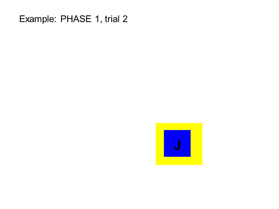 ZZZZZZ Training to learn spatially ordered list: PHASE 2 Trial 1 Bird rewarded for choosing item in correct position (yellow square) Z