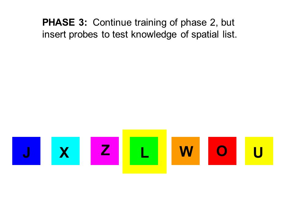 X JX O J Z UL W PHASE 4: Learning hierarchical list by dyadic pairs.