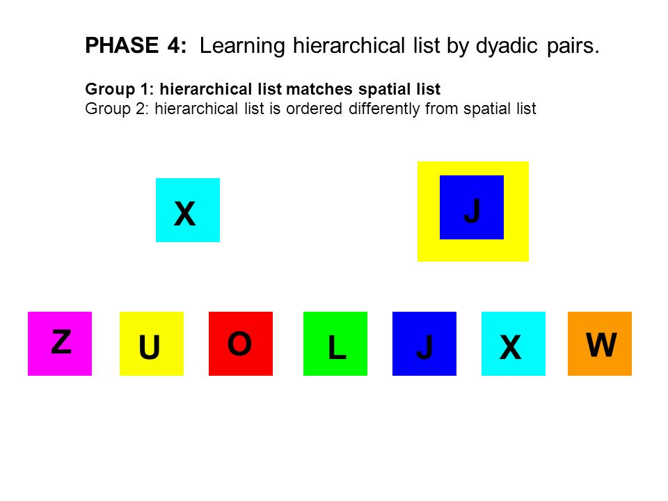 X JX O J Z UL W PHASE 4: Learning hierarchical list by dyadic pairs. Group 1: hierarchical list matches spatial list Group 2: hierarchical list is ord