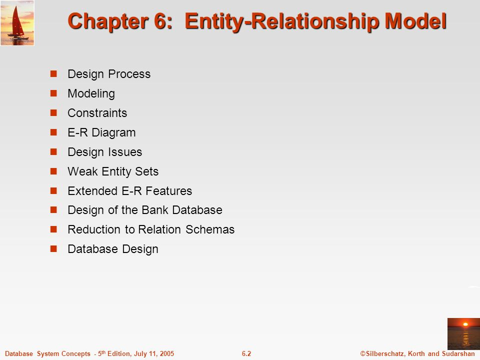 ©Silberschatz, Korth and Sudarshan6.2Database System Concepts - 5 th Edition, July 11, 2005 Chapter 6: Entity-Relationship Model Design Process Modeli