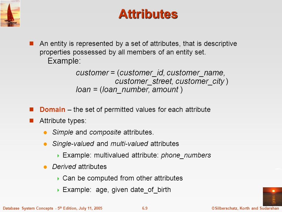 ©Silberschatz, Korth and Sudarshan6.9Database System Concepts - 5 th Edition, July 11, 2005 Attributes An entity is represented by a set of attributes