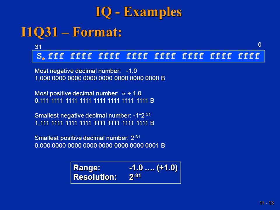 11 - 13 IQ - Examples S fff ffff ffff ffff ffff ffff ffff ffff 0 31 Most negative decimal number: -1.0 1.000 0000 0000 0000 0000 0000 0000 0000 B Most