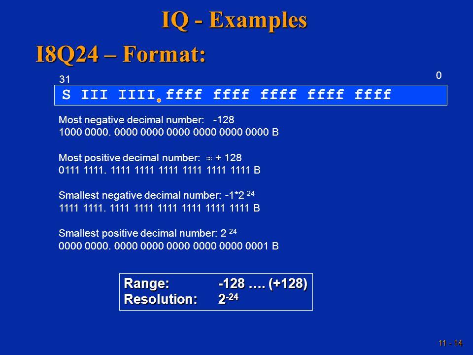 11 - 14 IQ - Examples S III IIII ffff ffff ffff ffff ffff 0 31 Most negative decimal number: -128 1000 0000. 0000 0000 0000 0000 0000 0000 B Most posi