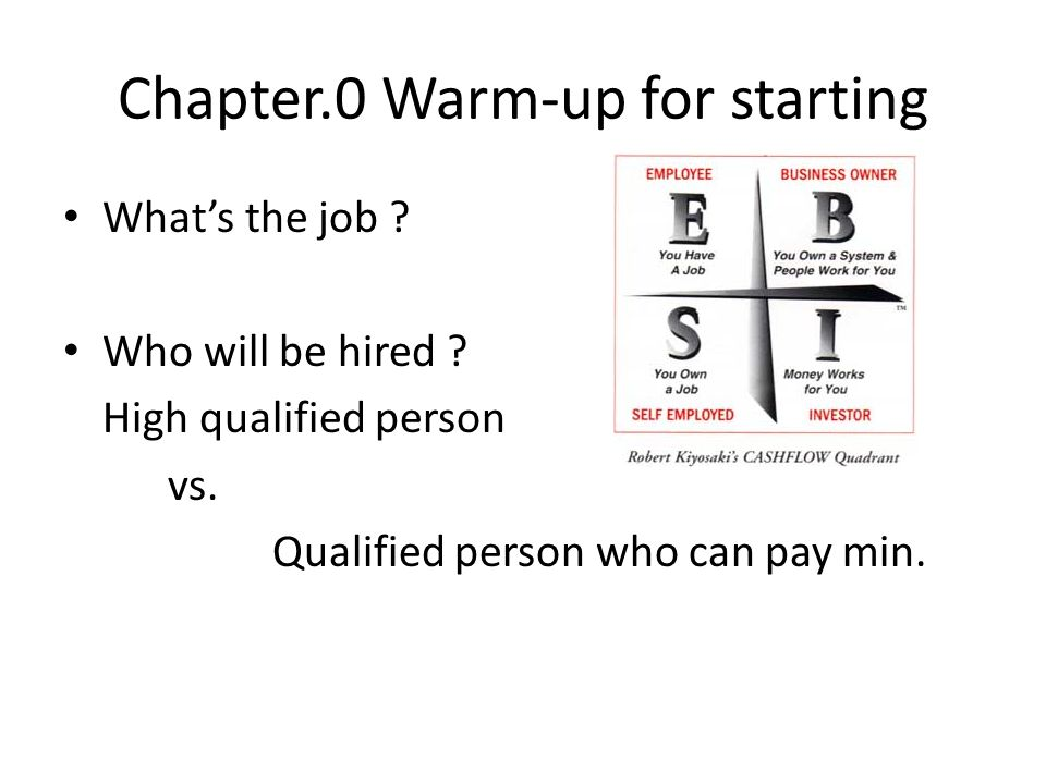 Chapter.0 Warm-up for starting Whats the job . Who will be hired .
