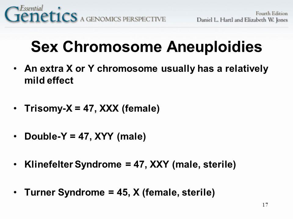 17 Sex Chromosome Aneuploidies An extra X or Y chromosome usually has a relatively mild effect Trisomy-X = 47, XXX (female) Double-Y = 47, XYY (male)