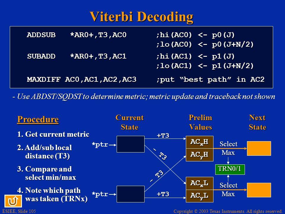 Copyright © 2003 Texas Instruments. All rights reserved. ESIEE, Slide 104 Viterbi Decoding Channel ENC Data G0G1G0G1G0G1G0G1DEC ~Data ~G 0 G 1 Know: R
