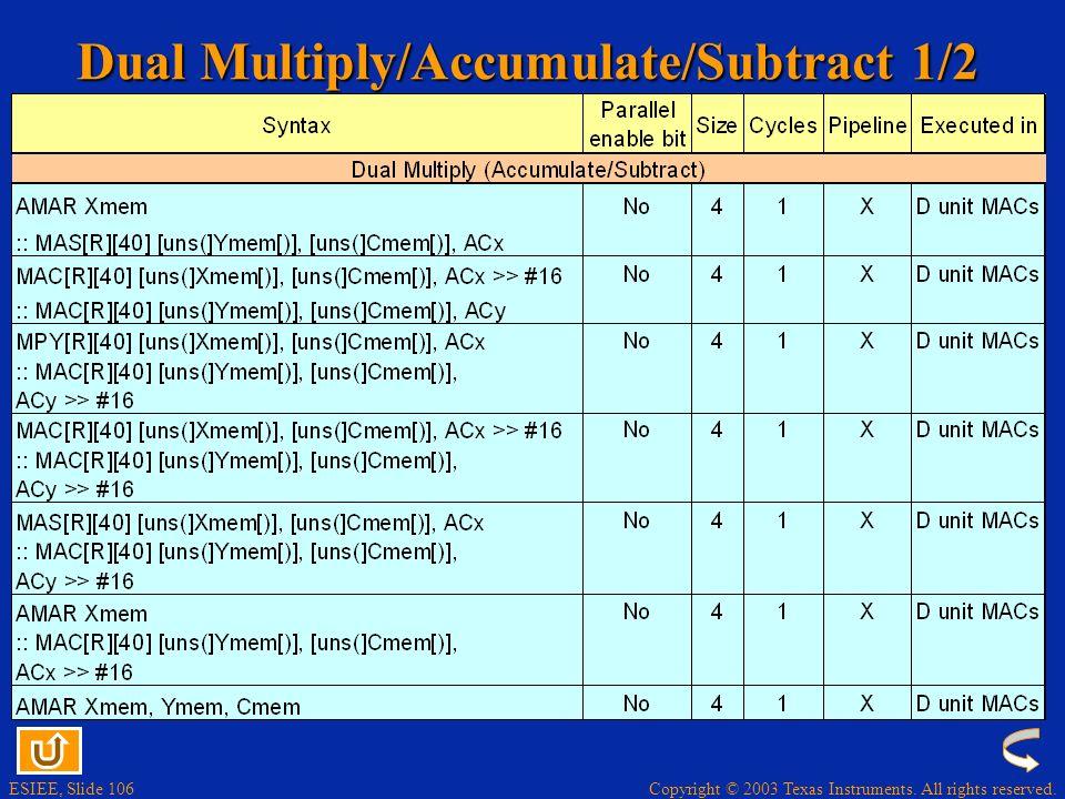Copyright © 2003 Texas Instruments. All rights reserved. ESIEE, Slide 105 Viterbi Decoding ADDSUB *AR0+,T3,AC0;hi(AC0) <- p0(J) ;lo(AC0) <- p0(J+N/2)