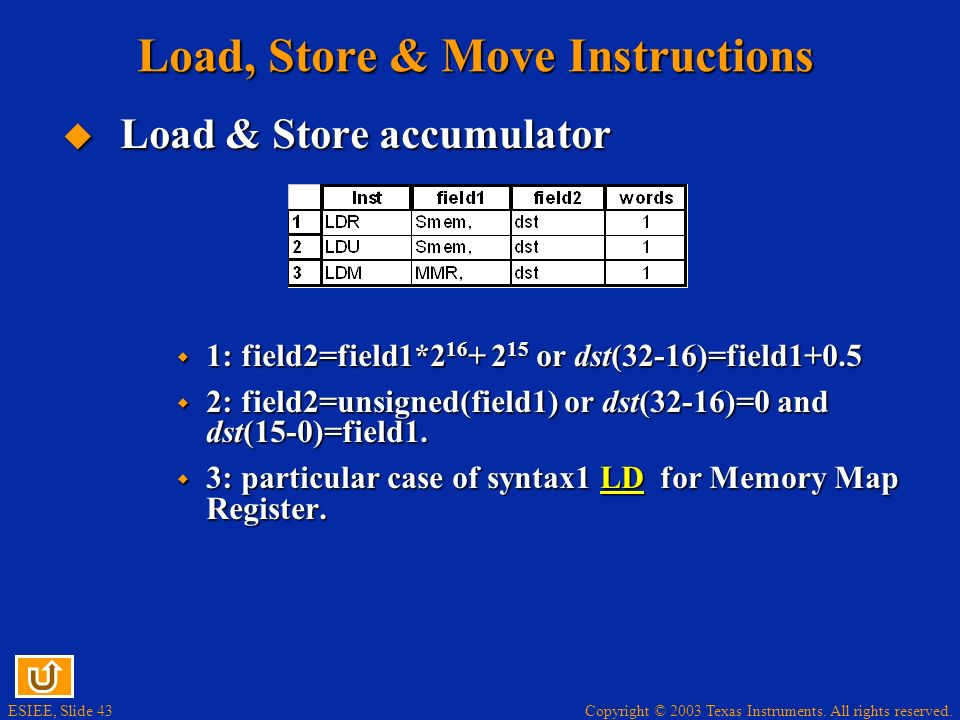 Copyright © 2003 Texas Instruments. All rights reserved. ESIEE, Slide 42 Load, Store & Move Instructions Load & Store accumulator Load & Store accumul