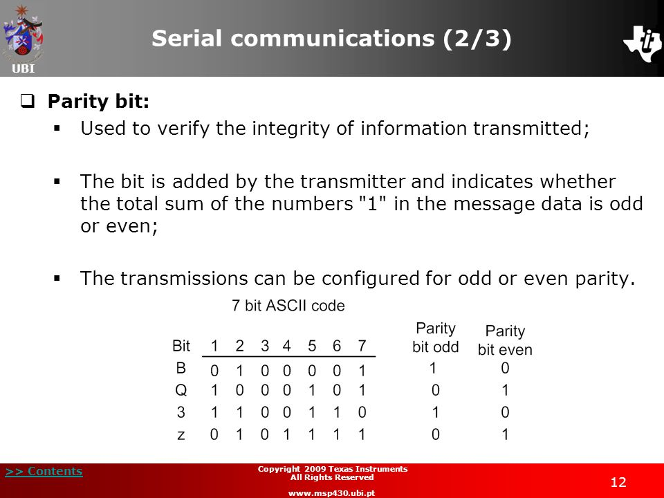 UBI >> Contents 12 Copyright 2009 Texas Instruments All Rights Reserved www.msp430.ubi.pt Serial communications (2/3) Parity bit: Used to verify the i