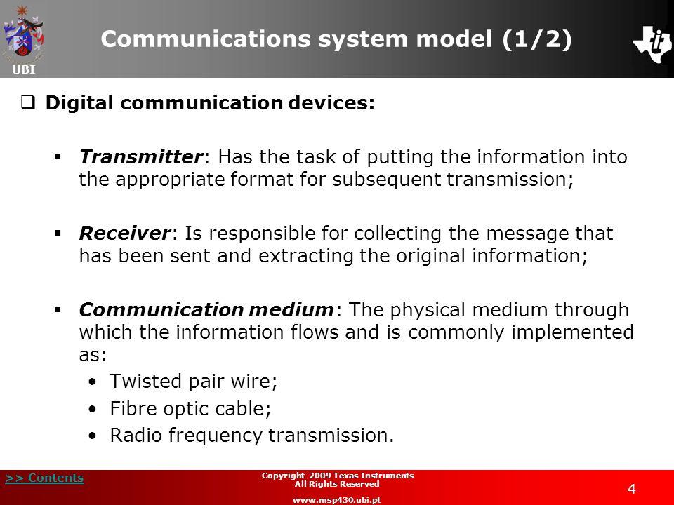 UBI >> Contents 4 Copyright 2009 Texas Instruments All Rights Reserved www.msp430.ubi.pt Communications system model (1/2) Digital communication devic