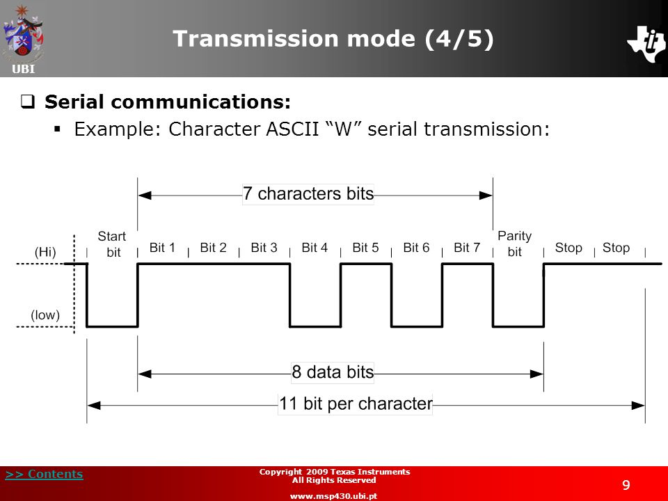 UBI >> Contents 9 Copyright 2009 Texas Instruments All Rights Reserved www.msp430.ubi.pt Transmission mode (4/5) Serial communications: Example: Chara