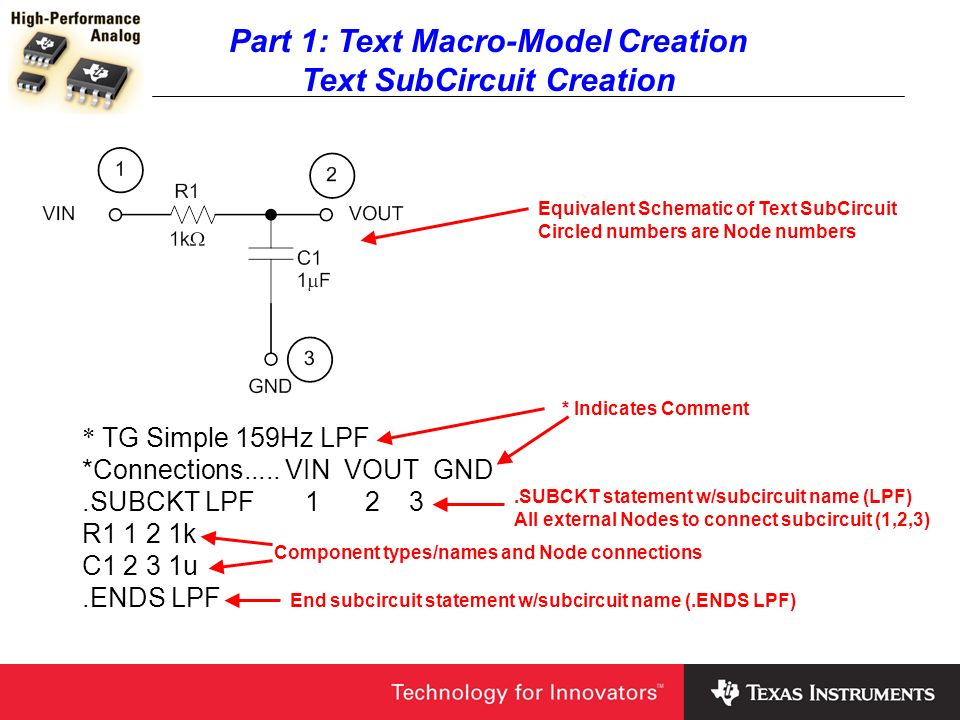 Part 1: Text Macro-Model Creation Macro-Model Creation If you want a label to appear next to the Ref Designator when you place the Macro-Model on a schematic enter it here under Label