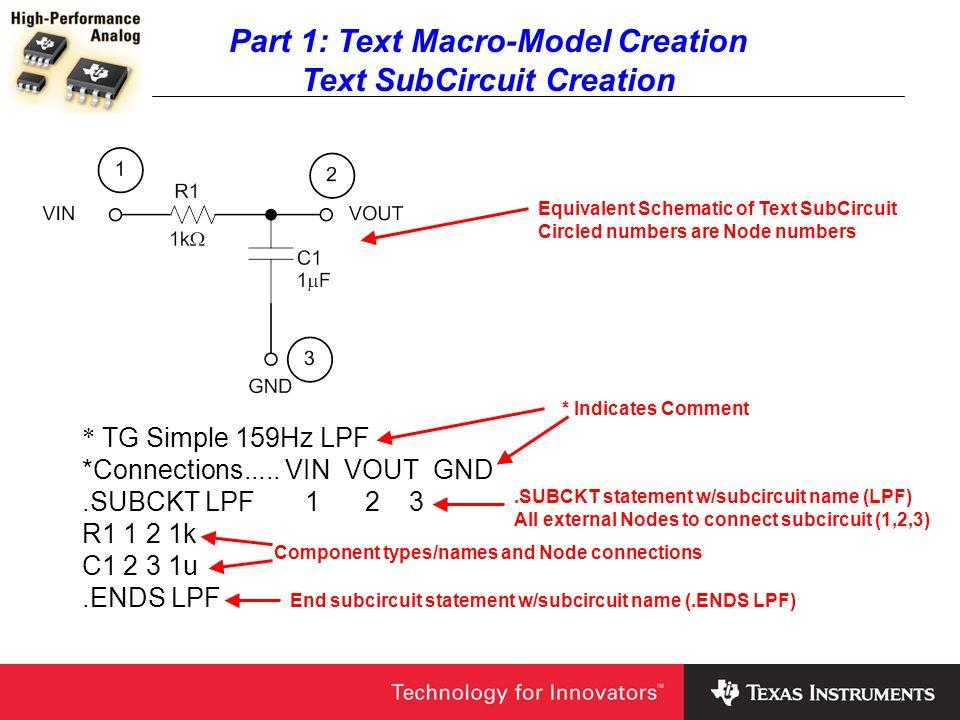 Part 1: Text Macro-Model Creation Text SubCircuit Creation * TG Simple 159Hz LPF *Connections..... VIN VOUT GND.SUBCKT LPF 1 2 3 R1 1 2 1k C1 2 3 1u.E