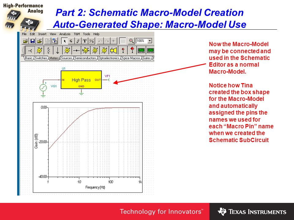 Part 2: Schematic Macro-Model Creation Auto-Generated Shape: Macro-Model Use Now the Macro-Model may be connected and used in the Schematic Editor as
