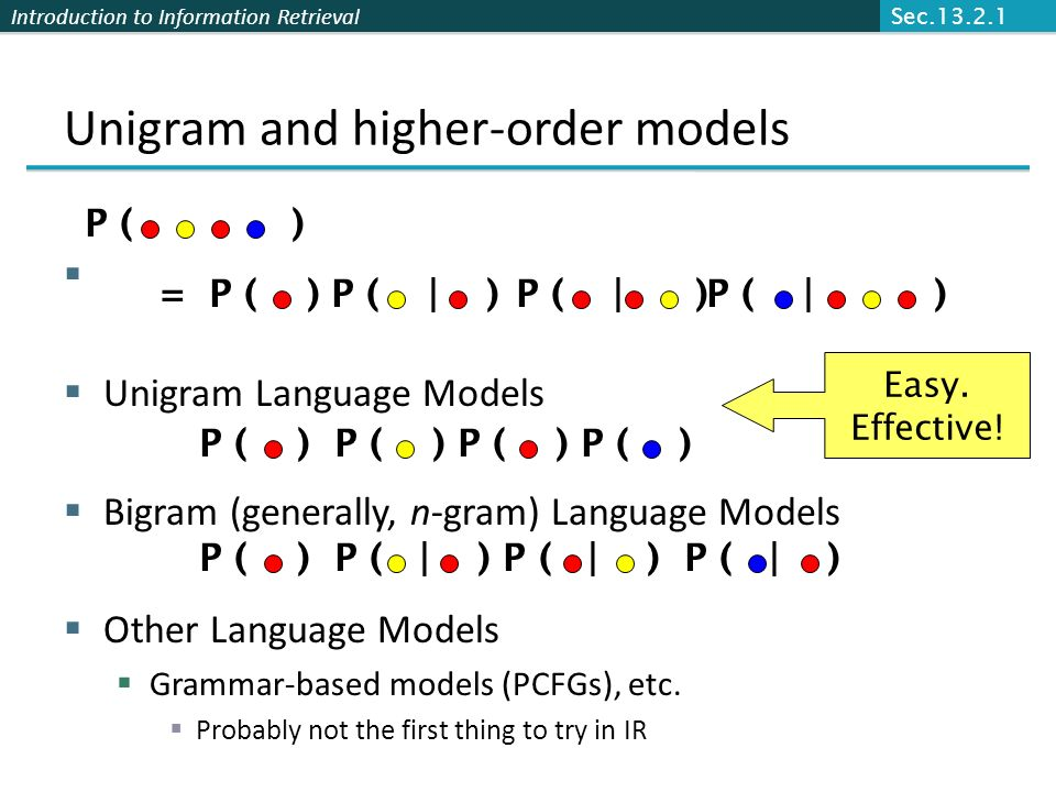 Introduction to Information Retrieval Naïve Bayes via a class conditional language model = multinomial NB Effectively, the probability of each class is done as a class-specific unigram language model C w1w1 w2w2 w3w3 w4w4 w5w5 w6w6 Sec.13.2