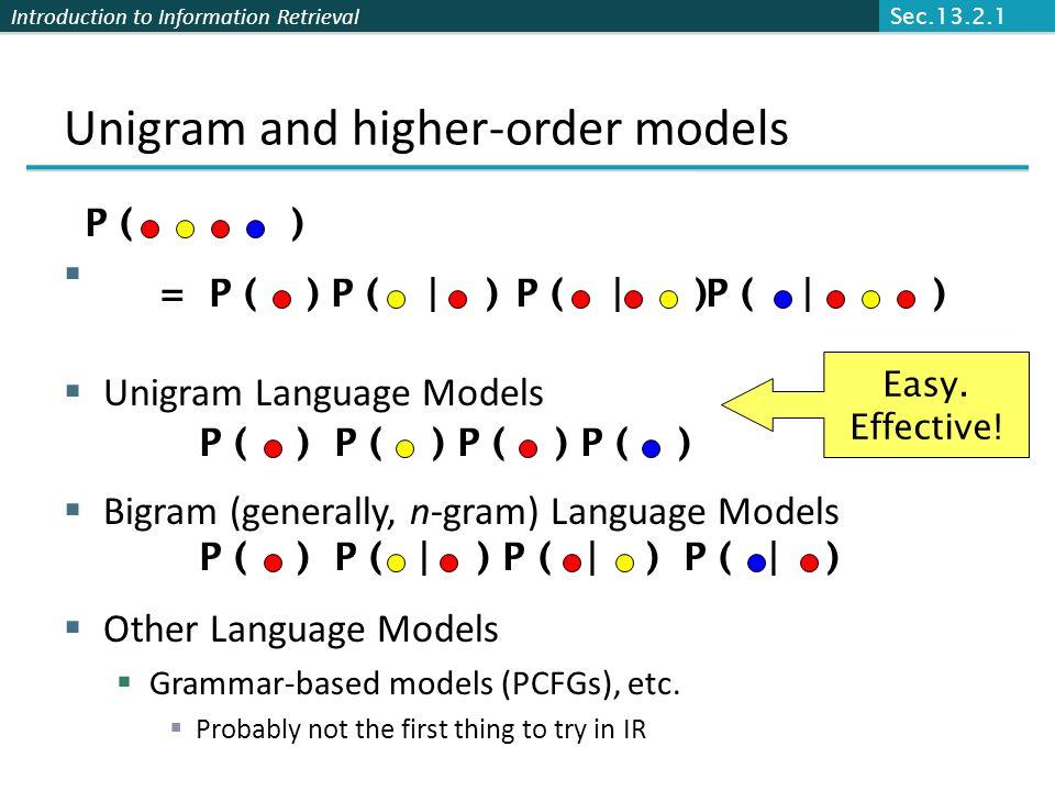 Introduction to Information Retrieval Unigram and higher-order models Unigram Language Models Bigram (generally, n-gram) Language Models Other Languag
