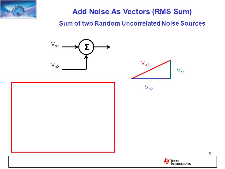 12 V n1 V n2 Σ V n1 V n2 V nT Add Noise As Vectors (RMS Sum) Sum of two Random Uncorrelated Noise Sources