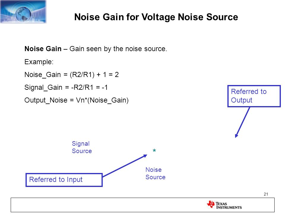 21 Noise Gain for Voltage Noise Source Noise Gain – Gain seen by the noise source. Example: Noise_Gain = (R2/R1) + 1 = 2 Signal_Gain = -R2/R1 = -1 Out