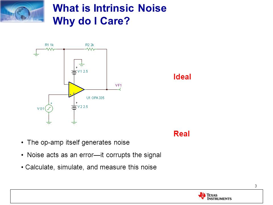 3 What is Intrinsic Noise Why do I Care? The op-amp itself generates noise Noise acts as an errorit corrupts the signal Calculate, simulate, and measu