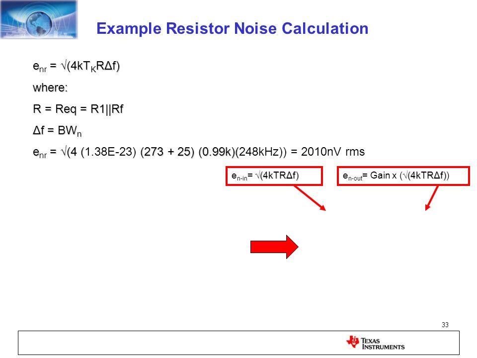 33 e = (4kT K RΔf) e nr = (4kT K RΔf)where: R = Req = R1||Rf Δf = BW n e = (4 ((273 + 25) (0.99k)( e nr = (4 (1.38E-23) (273 + 25) (0.99k)(248kHz)) =