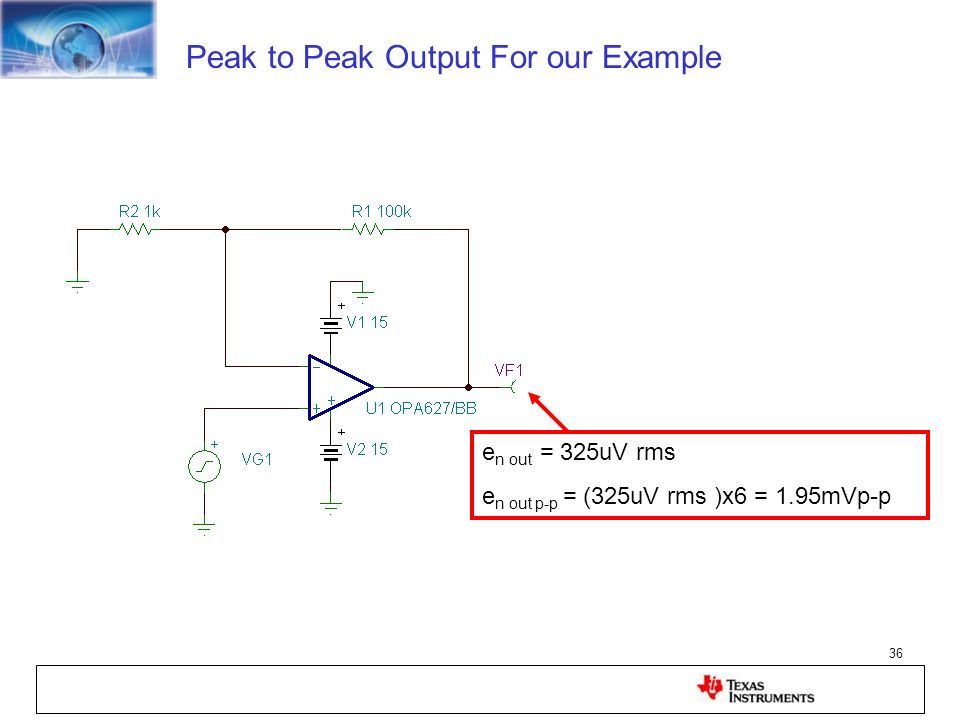 36 Peak to Peak Output For our Example e n out = 325uV rms e n out p-p = (325uV rms )x6 = 1.95mVp-p