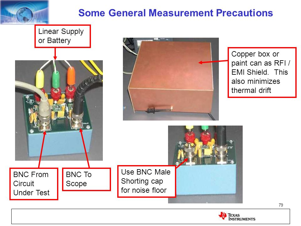 79 Linear Supply or Battery BNC From Circuit Under Test BNC To Scope Copper box or paint can as RFI / EMI Shield. This also minimizes thermal drift Us