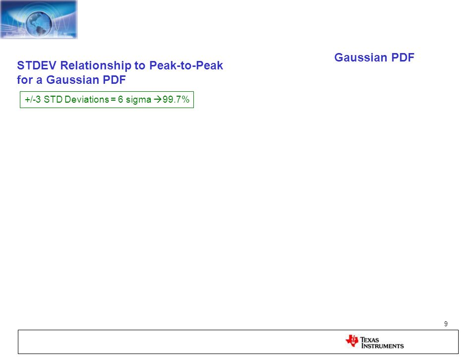 9 STDEV Relationship to Peak-to-Peak for a Gaussian PDF Gaussian PDF +/-3 STD Deviations = 6 sigma 99.7%