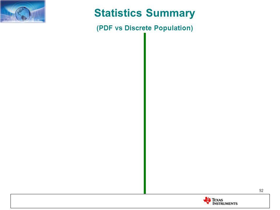 92 Statistics Summary (PDF vs Discrete Population)