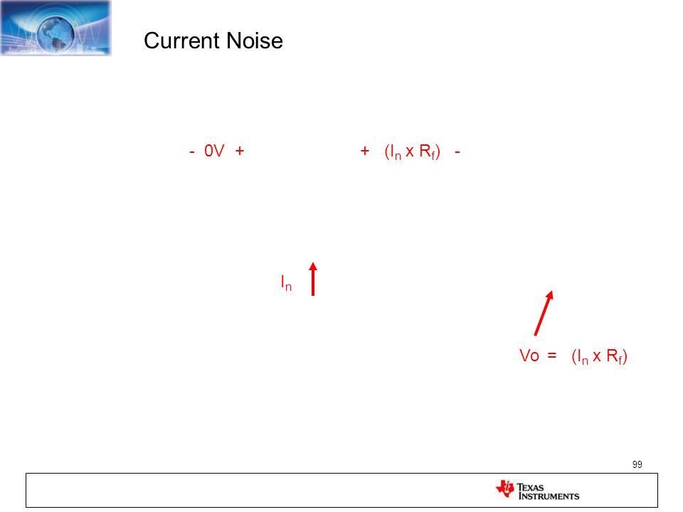 99 Current Noise - 0V ++ (I n x R f ) - Vo = (I n x R f ) InIn