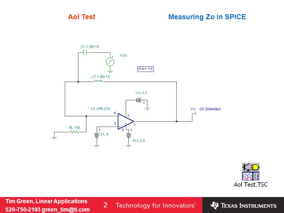 Tim Green, Linear Applications 520-750-2193 green_tim@ti.com 2 Measuring Zo in SPICEAol Test