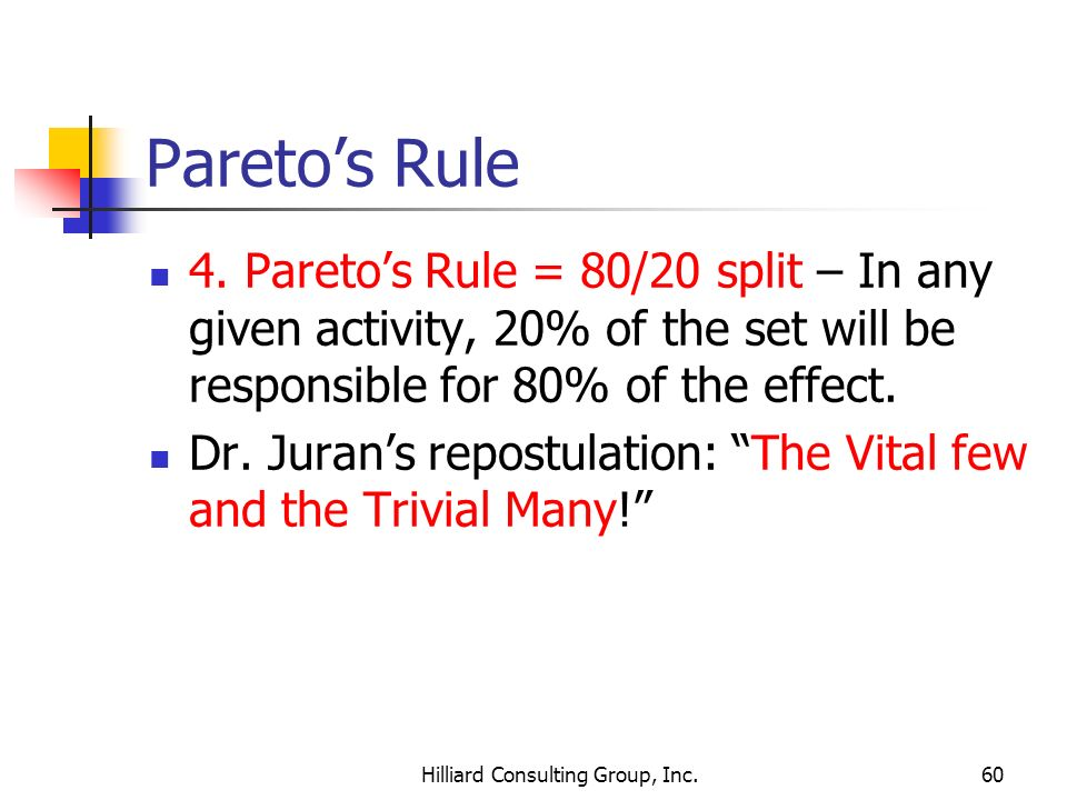 Hilliard Consulting Group, Inc.60 Paretos Rule 4. Paretos Rule = 80/20 split – In any given activity, 20% of the set will be responsible for 80% of th